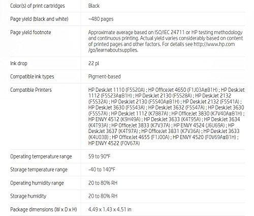 HP 63XL Black High Yield Original Ink Cartridge (F6U64AN) for HP DeskJet 1112, 2130, 2132, 3630, 3631, 3632, 3633, 3634, 3636, 3637, HP ENVY 4511, 4512, 4516, 4520, 4521, 4522, 4524, HP OfficeJet 3830, 3831, 3832, 3833, 4650, 4652, 4654, 4655 by HP (Image #7)