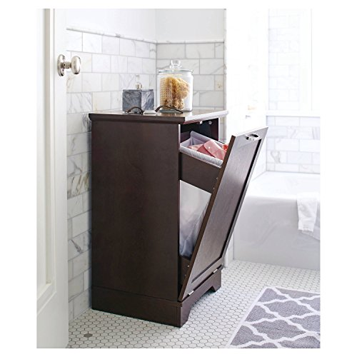 Threshold Home Furnishings Laundry Tilt Out Wood Hamper, Brown, Wood Bathroom basket Furniture (Double Tilt Out Laundry Hamper)