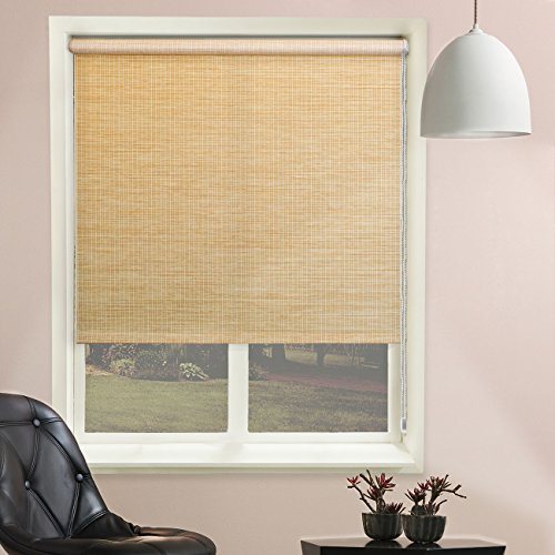 Chicology Continuous Loop Beaded Chain Roller Shades / Window Blind Curtain Drape, Natural Woven, Privacy - Lattice Cream, 48