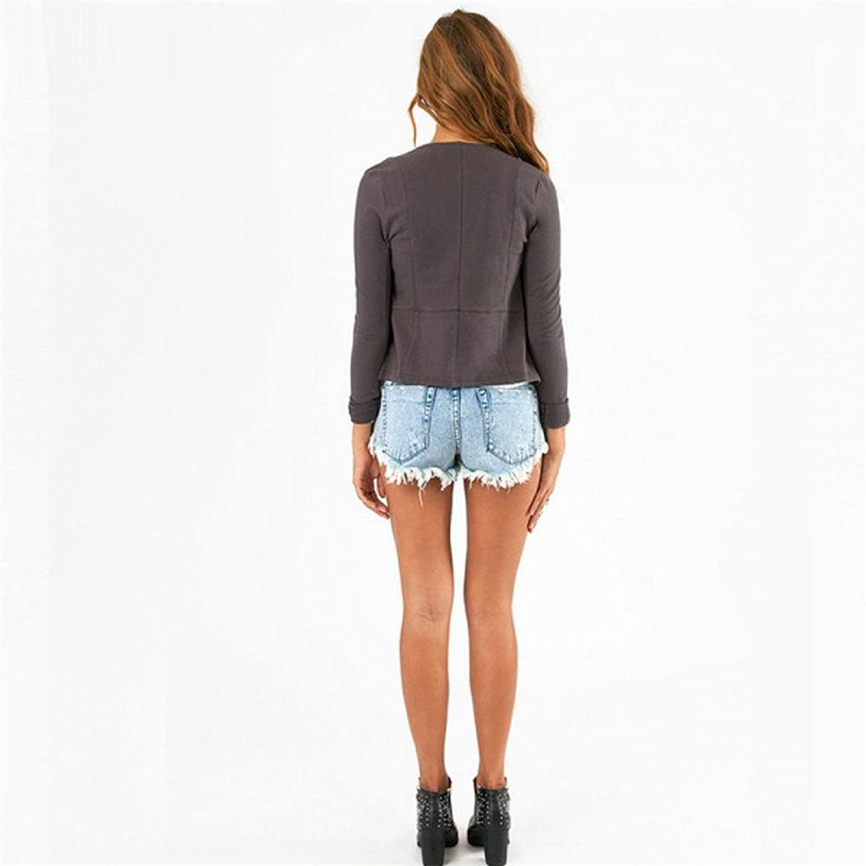 Allbebe Women's Spring Slim Lapel Wool Suede Jacket Coat