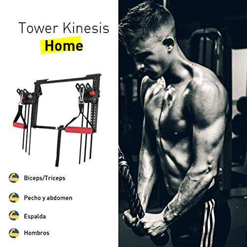 CloverFitness Tower Short Bar Door Pulley Pull-ups, Tensioners, Multiple Exercises, Unisex Adult, Black, M-L by CloverFitness (Image #2)
