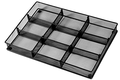 Mesh Deep Desk Drawer Organizer (Custom Drawer Organizer Tray – 20 Adjustable Metal Mesh Dividers to Create Custom Storage Sections. Easily Organize Office Desk Supplies and Accessories. Perfect Home or Office Drawer Tray. (Black))