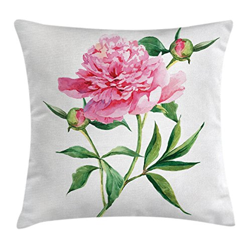 Watercolor Flower Throw Pillow Cushion Cover by Ambesonne, Vintage Peony Painting Botanical Spring Garden Flower Nature Theme, Decorative Square Accent Pillow Case, 18 X 18 Inches, Pink White Green (Pillow Peony)