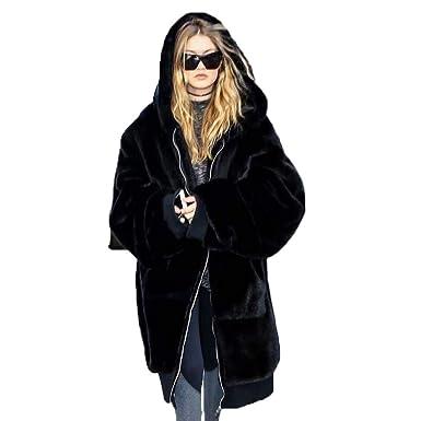 gamme exclusive grande sélection mieux aimé JEELINBORE Manteau Capuche Femme Chaud Veste d'hiver Parka en Fausse  Fourrure Overcoat Outwear
