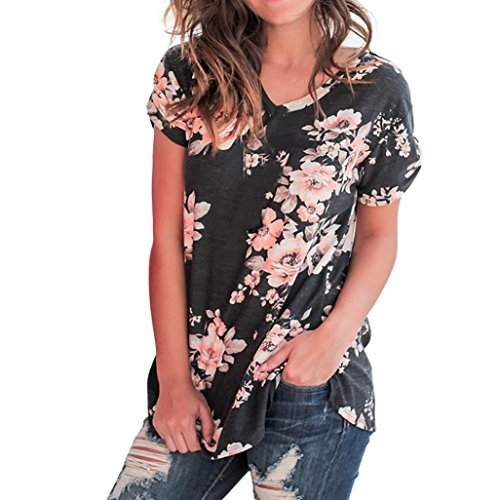 NREALY Women Ladies Casual Floral Print Short Sleeve Blouse O-Neck Pullover Tops Shirt(Black ,Large by NREALY (Image #4)