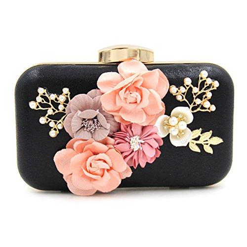 Alto grado de perlas de flores de diamantes de cuentas del bolso del bolso de tarde del embrague del banquete Black