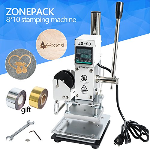 ZONEPACK Hot Foil Stamping Machine 810cm Digital Embossing Machine Manual Tipper Stamper for PVC Leather Pu and Paper Stamping with Paper Holder