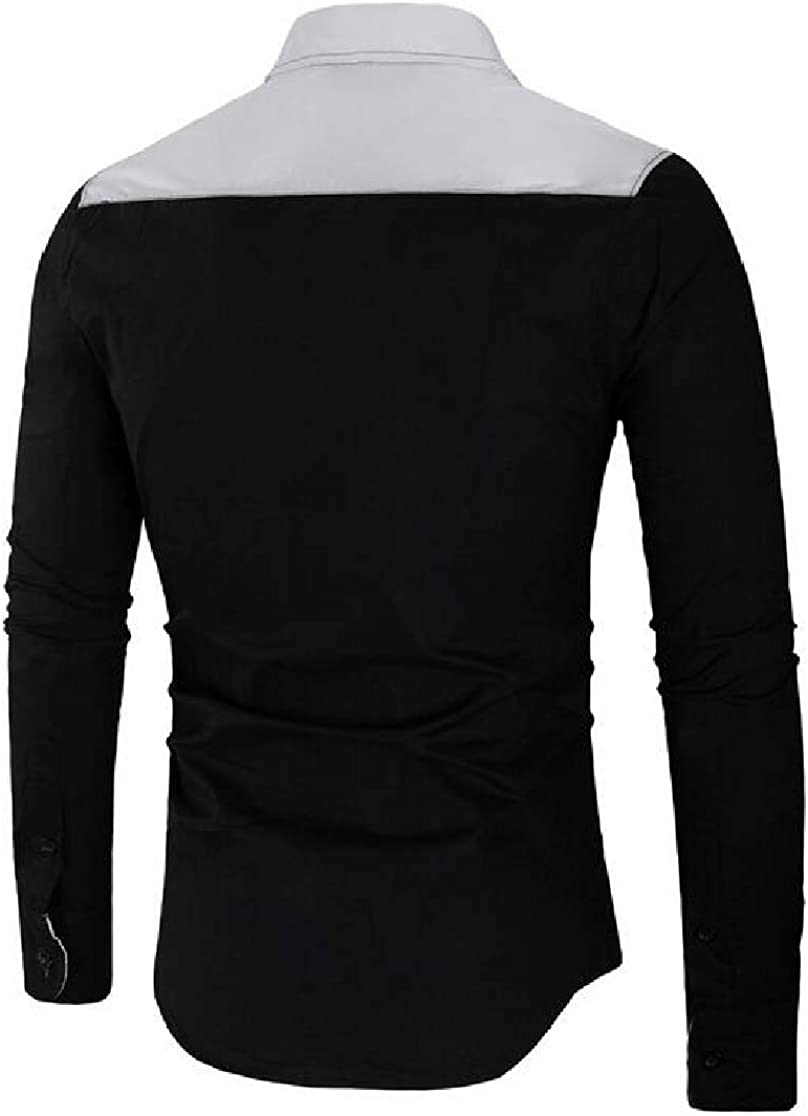 Domple Mens Casual Long Sleeve Lapel Button Up Patchwork Slim Fit Cotton Color Block Shirt