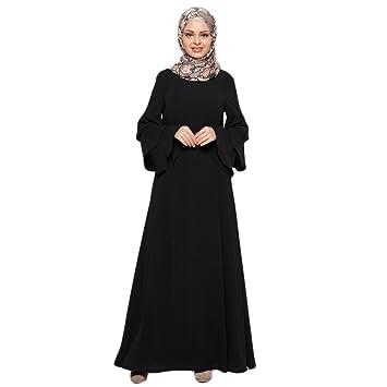 b2301f96d3 Women Muslim Classic Pure Color Elegant Long Robe Summer Plus Size Trumpet  Sleeve High Waist Pleated