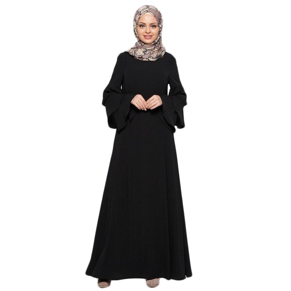 Women Loose Plus Size Long Dress, Lady Solid Lotus Sleeve Muslim Islamic Maxi Dress Middle Eastern Robe