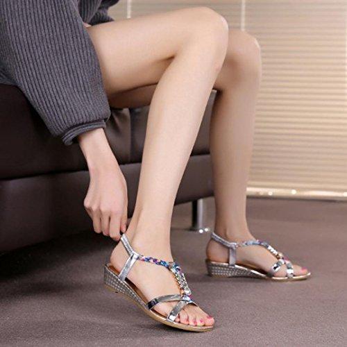 Rhinestone Sandalias Zapatos de Casual para de Yesmile Planas C Fiesta Zapatos y Sandalias del Mujer Sandalias Mujer para Boda Verano Sandalias Ocasionales Xtw0IT