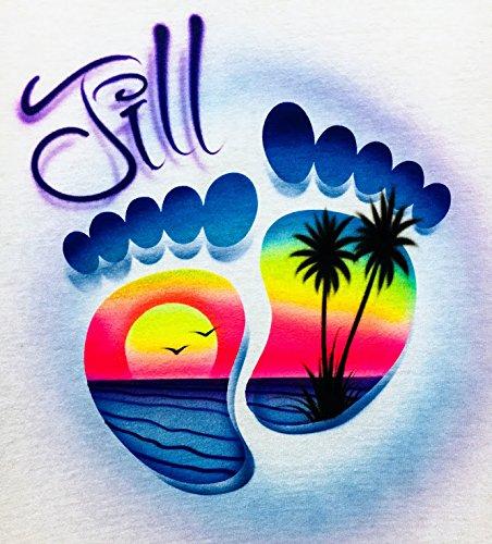 Airbrush T Shirt, Footprints with Beach ()