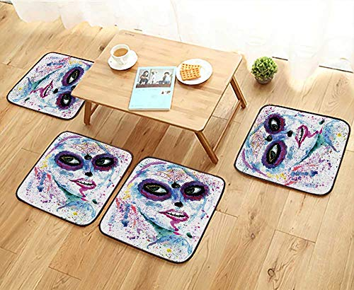 Jiahonghome Anti-Skid Chair Cushions Halloween Girl with Sugar Skull Makeup,Watercolor Painting. Health is Convenient W19.5 x L19.5/4PCS Set for $<!--$32.99-->