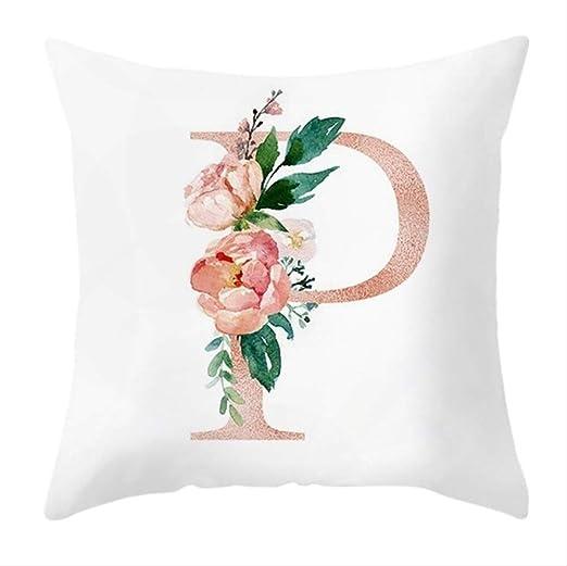 RRWL Funda de Almohada Letras Patrón Floral 45x45cm ...
