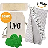 "TUNCH Bath and Travel Set (5 PİECE)%100 Cotton Pestemal Turkish Bath Towel 39""x71"" -%100 Natural Loofah Back Scrubber - Bath Gloves - Gift Bag"
