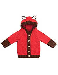 Tenworld B Infant Baby Boys Girls Knitted Sweater Tops Fox Hooded Coat Jackets 3t