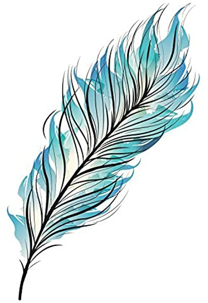 Amazon Com Blue Feather Temporary Tattoo Feather Accessory Feather Body Art Set Of 2 Beauty