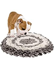 M-Aimee Pet Snuffle Mat Dog Cat Slow Feeding Mat Nose Work Fleece Puzzle Blanket for Foraging Skills and Stress Release (Gray White)
