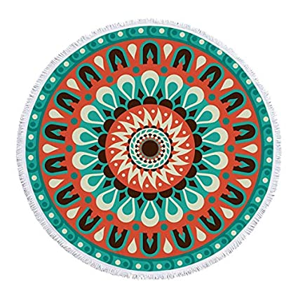 YOOMAT 150 cm Impreso Mandala Ronda Franja Toalla de Playa Estera de Yoga Toallas de Playa