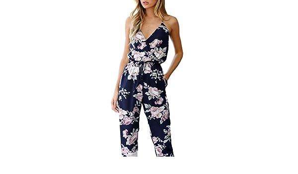 Navy Yoyorule Women Floral Jumpsuit Sleeveless V-Neck Playsuit Party Long Trousers 3XL