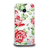 Hard Plastic Case for HTC One M8, CasesByLorraine Rose Flower Matte Transparent Clear PC Case Plastic Cover for HTC One M8 2014 (P27)