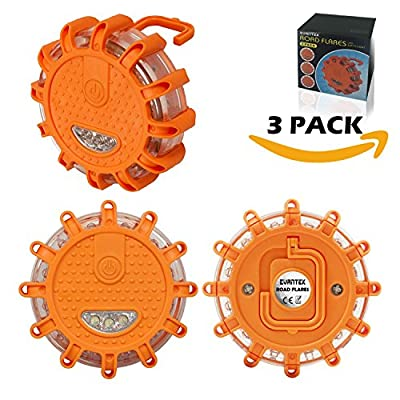 3 Pack Led Road Flares | Traffic Warning Lights | Emergency Safety Kit Tool Automotive | Flashing Road Beacon - with Magnetic Base for Car Truck Boat Marine With Strong Magnet | Roadside 9.1.1 Lights from EVANTEK