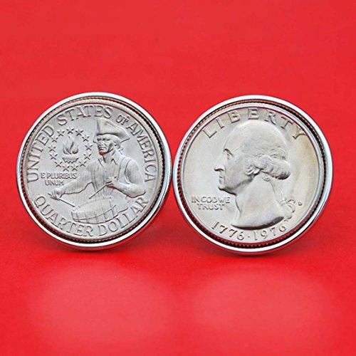 US 1776 ~ 1976 Bicentennial Design Washington Quarter Dollar Gem BU Uncirculated Special Mint Set Coin Cufflinks NEW - Drummer Boy Reverse (Cufflinks Mint)
