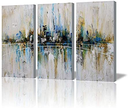 ARTLAND Canvas Wall Art for Living Room 3 Piece Pictures Ready to Hang Wall Decorations Canvas Home Decor Summer Rain 3 Piece Artwork for Walls Hand Painted Wall Art