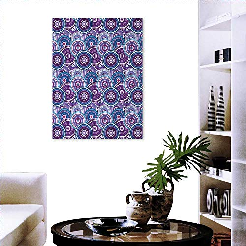 Bullseye Dots - Warm Family Purple Wall Stickers Retro Circular Arrangement Dots Bulls Eye Pattern Abstract Geometric Design Landscape Wall Stickers 24
