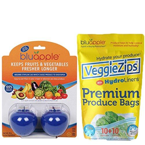 Bluapple and VeggieZips Ultimate Starter Pack Produce Preservation Kit Keeps Produce Fresher Longer! Absorbs Ethylene Gas & Regulates Humidity! Save Money Reduce Waste!