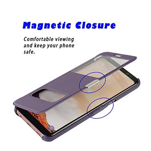 Funda Samsung Galaxy S6, MTRONX Cover Carcasa Case Caso Doble Ventana Vista Ultra Folio Flip Twill Tela Asargada PU Cuero Delgado Piel con Cierre Magnetico para Samsung Galaxy S6 - Negro(MG2-BK) Morado
