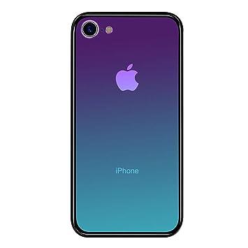 LAYJOY Funda iPhone 7, Funda iPhone 8, Ligera Carcasa Silicona Suave Negro TPU Bumper y Transparente Cristal Templado Case de Protectora Anti-Golpes, ...