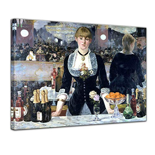 LVLUOYE Wall Art Canvas Decor - Canvas Wall Painting - Copy Famous Old Master Oil Painting - Hand Painted Mural - Édouard Manet Bar in The Folies-Bergère,80x60cm ()