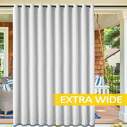 cololeaf Outdoor Curtains for Patio Extra Wide Waterproof Curtain Panels for Porch, Gazebo, Pergola, Cabana, Dock, Beach Home – Grommet – Greyish White 150 Wx96 L Inch 1 Panel