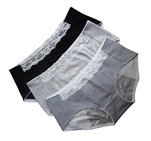3 Pack Women's Cotton Menstrual Sanitary Protective Underwear Girls Lace Leakproof Period Panties (Black+Grey+Stripe, (Absorbent Protective Underwear)