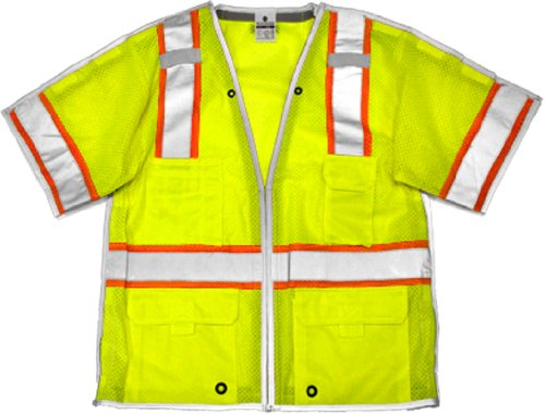 ML Kishigo 1552 Ultra-Cool Polyester Mesh Brilliant Series Breakaway Vest, 2X, Lime Cool Mesh Breakaway Vest