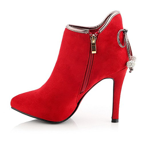 Frosted Boots Toe Pointed Allhqfashion Heels Closed High Solid Red Women's Rw6H6xS