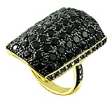 6.24 Carats Black Onyx with Champagne Diamond Gold-Plated Sterling Silver Cluster Ring (8)