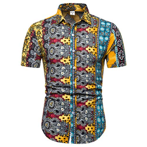 Sunhusing Men's New Boho Style Pattern Print Casual Lapel Short Sleeve Shirt Button-Down Work T-Shirt Yellow