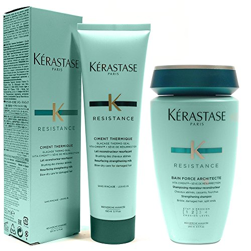 - Kerastase Shampoo Bain Force Architecte + Resistance Ciment Thermique for damaged hair in an Exquisit Giftbag (Set #007)