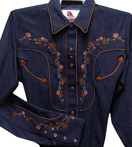 Long Fitted Camicia Sleeved Women's Cowboy Floral Western Denim Modestone Embroidered qxOawH