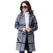 Drasawee Women's Midi Winter Wool Blend Coat Open Front Outerwear Trench Overcoat