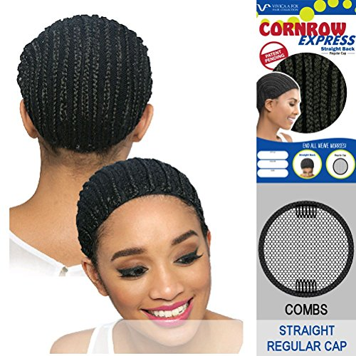 Mono Cap Wig (Vivica A Fox Hair Collection Cornrow Express Cap, Straight Back Type with Combs, 1B, Medium, 2 Ounce)