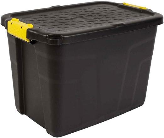 CEP HW442 Caja de Almacenamiento 60 l, Plástico, Negro y Amarillo, 60x40x40 cm: Amazon.es: Jardín