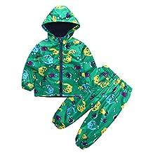 Clearance 1-5Years Baby Raincoat-Iuhan Waterproof Hooded Jacket Dinosaur Coat+Pants Suit
