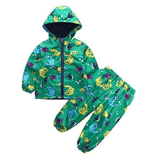 Toddler Boys Girls 12 Months-5T Clothes,Raincoat Waterproof Hooded Jacket Dinosaur Coat+Pants Suit by OCEAN-STORE