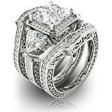 3PC Womens Fashion Jewelry 925 Silver Princess Cut Wedding Engagement Ring Set (9)