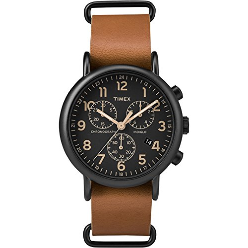 Timex-Weekender-Chrono-Oversized-Watch-Black-DialBrown-Strap