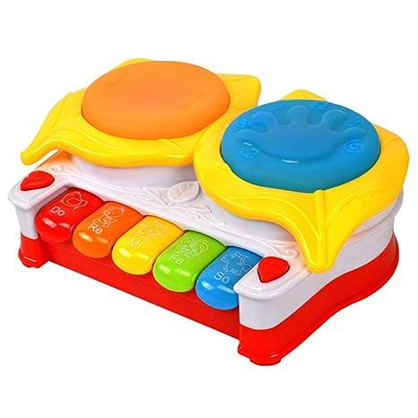 TOYANDONA Juguete Musical para bebé Tambor Teclado Piano Piano Juguete de Aprendizaje electrónico Musical Infantil (