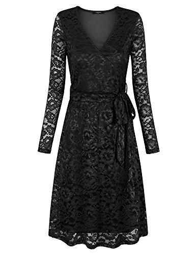 VALOLIA Little Black Dress, Women's Vintage V Neck Crochet Lace Long Sleeves Midi Party Dress Lining Black X-Large (Dress Vintage Crochet)